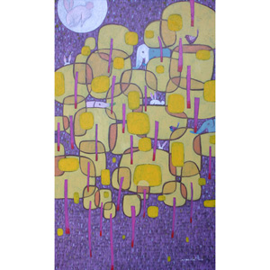 Acrylic on canvas, 'Balloon Trees'