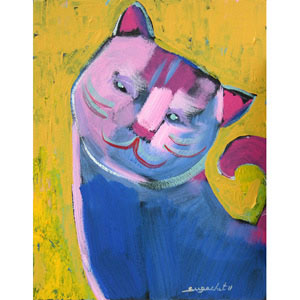 Acrylic on canvas, 'Pink Cat'