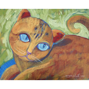 Acrylic on canvas, 'Blue-Eyed Cat'