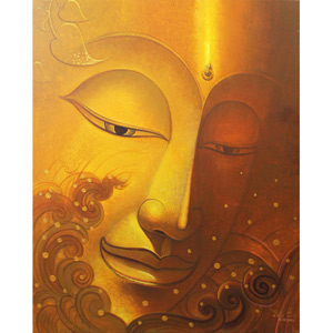 Acrylic on canvas, 'Light of Dharma'