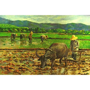 Oil on canvas, 'Thai farmer 5'