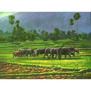 Oil on canvas, 'Countryside in Phayao'