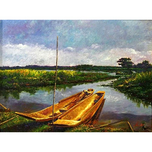 Oil on canvas, 'Kwan Phayao'