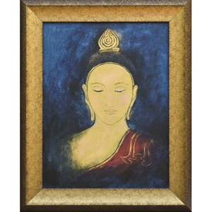 Oil on canvas, 'Buddha Face 6'