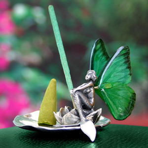 Fairy figurine and incense holder, 'Mermaid Voyage' (I)
