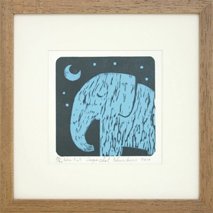 Linocut print, 'Evening Meditation'