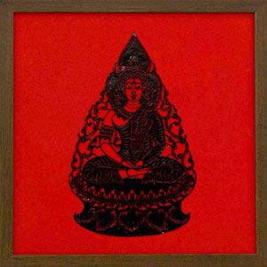 Framed Leather Silhouette, 'Black Buddha'