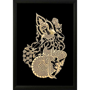 Framed Leather Silhouette, 'Gold Nang Fa'