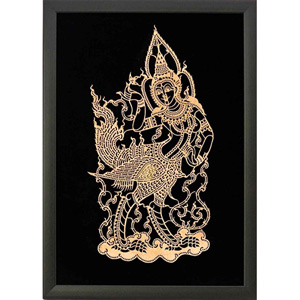 Framed Leather Silhouette, 'Gold Kinnaree'