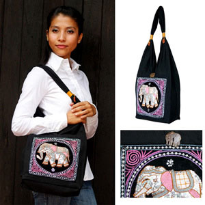 Cotton shoulder bag, 'Elephant Parade'