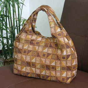 Cotton shoulder bag, 'Cocoa Cubism' (Arch)