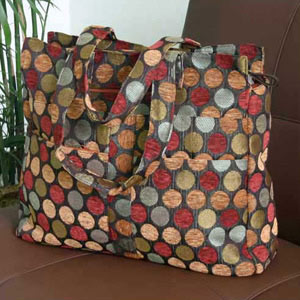 Cotton tote shoulder bag, 'Bubbling Cherries'