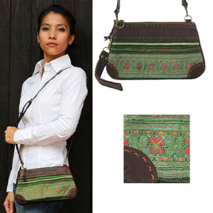 Leather and cotton shoulder bag, 'Forest Melody'