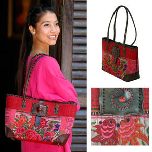 Leather and cotton shoulder bag, 'Red Poppy'