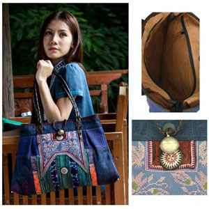 Leather and cotton shoulder bag, 'Ethnic Grace'
