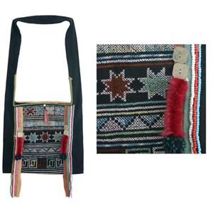 Akha cotton shoulder bag, 'Forest Spirits'