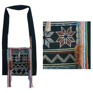 Akha cotton shoulder bag, 'Ethnic Harvest'