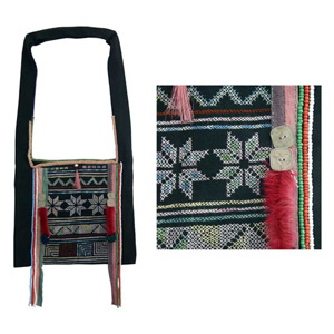 Akha cotton shoulder bag, 'Ethnic Games'