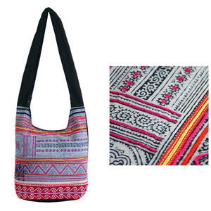 Cotton shoulder bag, 'Ethnic Song'