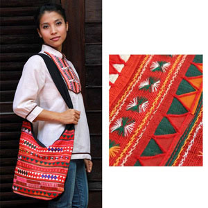 Cotton shoulder bag, 'Tribal Dawn'