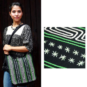 Cotton shoulder bag, 'Little Stars'