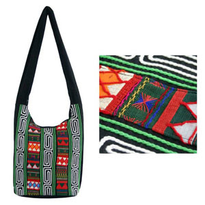Cotton shoulder bag, 'Mesmerizing Akha'