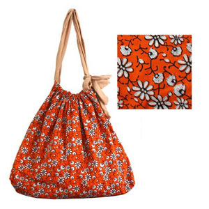 Cotton shoulder bag, 'Summer Daisies'