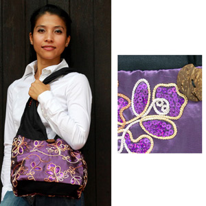 Cotton and polyester shoulder bag, 'Purple Garden' (small)