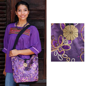 Shoulder bag, 'Purple Garden'