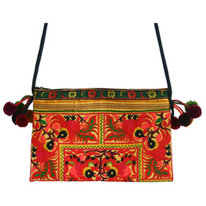 Cotton shoulder bag, 'Frolicking Birds'