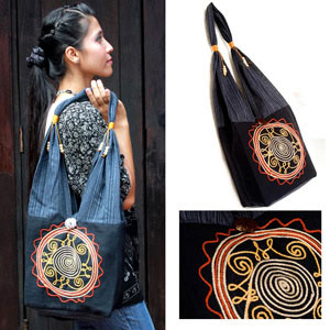 Cotton shoulder bag, 'Hypnotic'