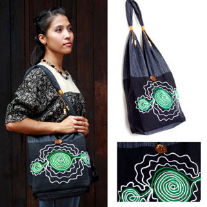 Cotton shoulder bag, 'Green Spirals'
