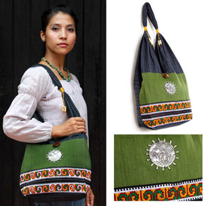 Cotton shoulder bag, 'Emerald Field'
