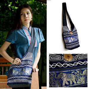Cotton and polyester shoulder bag, 'Blue Parade'