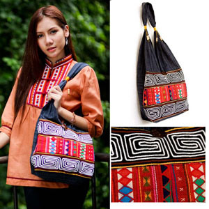 Cotton shoulder bag, 'Akha Statement'