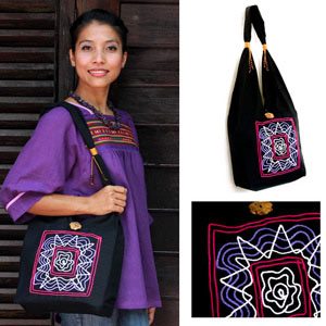 Cotton shoulder bag, 'Thai Star'
