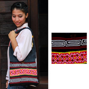 Cotton shoulder bag, 'Tribal Spark'
