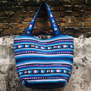 Cotton shoulder bag, 'Blue Glacier'