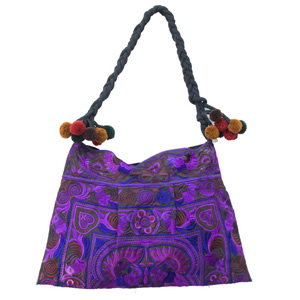 Cotton shoulder bag, 'Cobalt'
