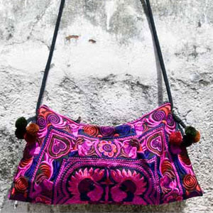 Cotton shoulder bag, 'Hmong Rhythm'