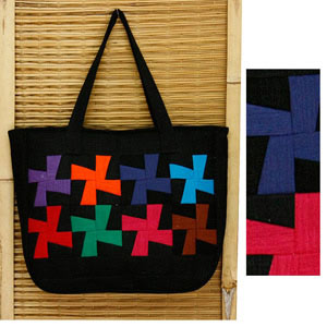 Cotton shoulder bag, 'World Children'