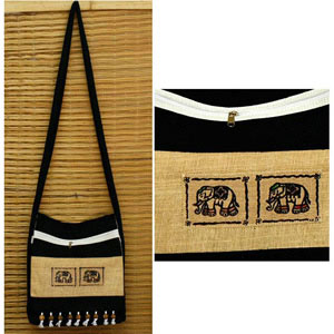 Cotton shoulder bag, 'Thai Sabai'
