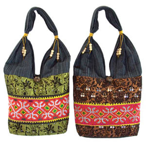 Cotton and polyester shoulder bag, 'Forest Trek' (set of 2)