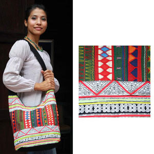 Cotton shoulder bag, 'Green Tribes'