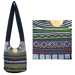 Cotton shoulder bag, 'Tribal Geometry'