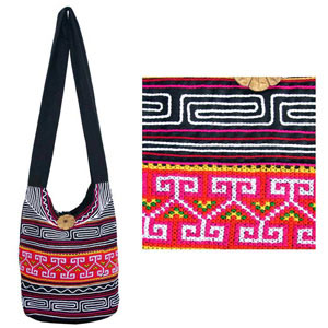 Cotton shoulder bag, 'Tribal Message'