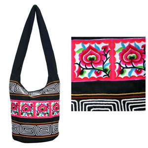 Cotton shoulder bag, 'Suthep Blossoms'