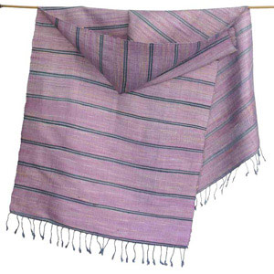 Silk scarf, 'Purple Orchid'
