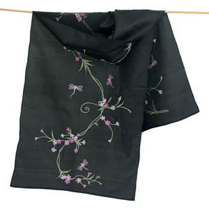 Embroidered silk scarf, 'Dark Dragonflies'