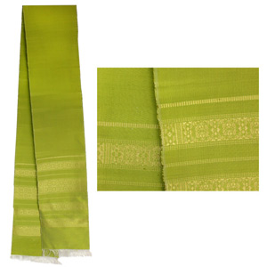 Gold brocade silk scarf, 'Green Tea'